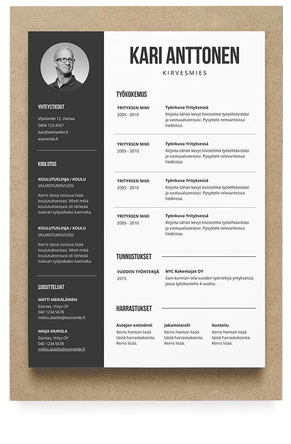 CV- eli ansioluettelomalleja ja työhakemusmalleja